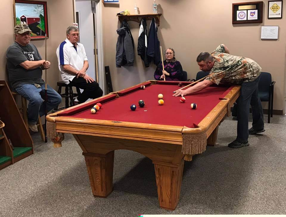Playing Pool at The Senior Center